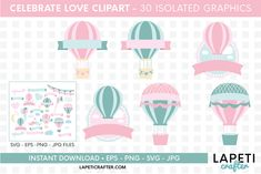Download Wedding hot air balloon clipart, love clipart, valentine day today! #lapeticrafter #hotairballoon #valentinesday #loveclipart #instantdownload #designbundles Hot Air Balloon Clipart, Free Design, My Design, Baby Shower Clipart, Valentines Day Dresses, Create Invitations, Illustrations, Design Bundles, School Design