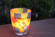 Do you love candle crafts? This DIY stained glass votive candle holder craft is a fun one to try! Light the night with these custom decorated candles. Glass Votive Candle Holders, Candle Art, Votive Candles, Glass Candle, Nifty Crafts, Making Stained Glass, Light Crafts, Sunday School Crafts, Candle Making