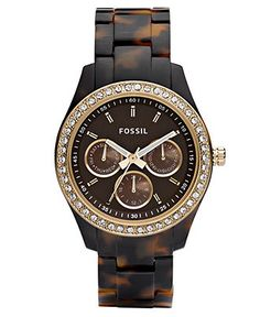 Fossil Watch, Women's Stella Tortoise Resin Bracelet 37mm ES2795 - For Her - Jewelry & Watches - Macy's