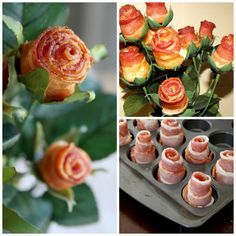 Creative Fathers day Gifts #fathersday #bacon Bacon rose bouquet
