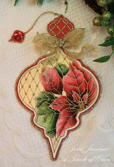 Spellbinders' Heirloom Ornaments - Watercolored Poinsettias 3 by Jerri Kay - Cards and Paper Crafts at Splitcoaststampers