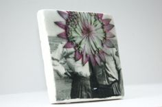 Clay tile or coaster with vintage floral print from £13.89