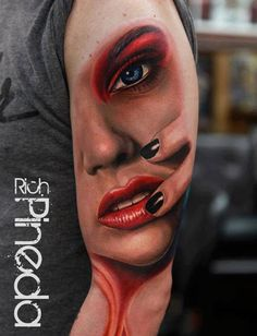 Realistic lady face tattoo on arm, I love these kinds of tattoos.