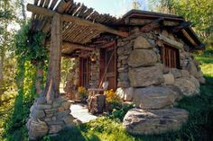 Double D Ranch - rustic stone Fishing Cabin Exterior House On The Rock, Tiny House, Small Houses, Casa Do Rock, Cabin Design, House Design, Perspective Architecture, Stone Cabin, Little Cabin