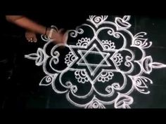 SIMPLE DOUBLE LINE KOLAM WITH DIYAS FOR DIWALI
