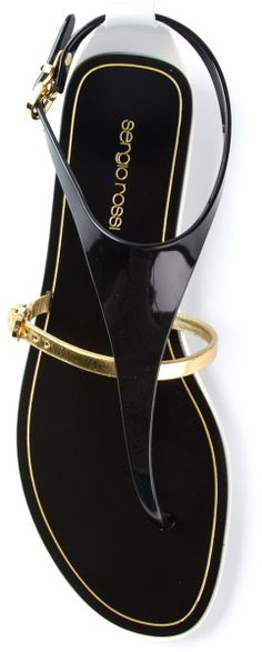 Sergio Rossi Black Thong Strap Sandal  |  flats and sandals