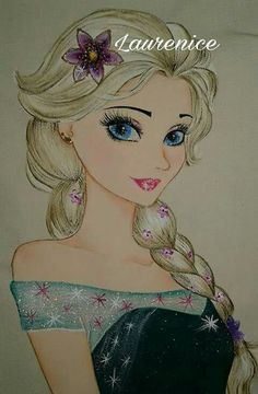 Beautiful and sparkling Elsa in Frozen Fever Disney Princess Drawings, Disney Drawings, Eye Painting, Fabric Painting, Art Sketches, Art Drawings, Coloring Books, Coloring Pages, Rangoli Designs