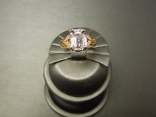 Vintage Estate Art Deco C1940 14K Gold Cushion cut Natural Pink Kunzite Ring