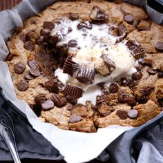 Nutella Stuffed Reese's Peanut Butter Chocolate Chip Skillet Cookie Extreme cookie dough on the inside — and crispy, semi-salty and peanut buttery on the outside… http://cafedelites.com/2015/04/04/nutella-stuffed-peanut-butter-chocolate-chip-skillet-cookie/