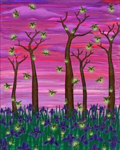 firefly sky, by Sarah Knight 8X10 inch open edition print | SunshineSight - Print on ArtFire