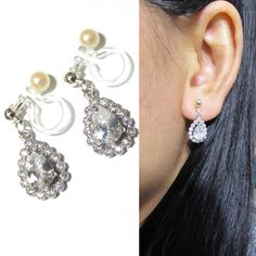 Cubic Zirconia Rhinestone Clip-on Earrings |8H| Silver Plate Dangle Teardrop Invisible Bridal Wedding Clip On Earrings Non Pierced Earrings