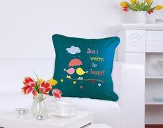 Don´t worry be happy! #kissen #vogel #regenschirm #pillow