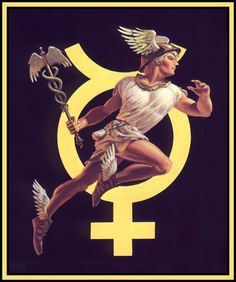 Hermes (shape-shifting fallen angel / Orion hunter / self-professed god / father of beastly hybrids) morphs thru time into the cute Roman andro-gyne Mercury - Mother Earth: Caduceus/Hermes/Aphrodite/Serpent/Androgyn
