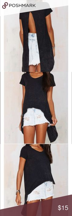 Nasty Gal Back in the Game Slit Tee - Black Nasty Gal Back in the Game Slit Tee - Black used once great condition Nasty Gal Tops