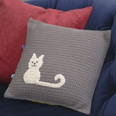 free crochet patterns - DIY kitten pillow - cat pillow pattern for crochet