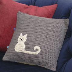 free crochet patterns - DIY kitten pillow - cat pillow pattern for crochet
