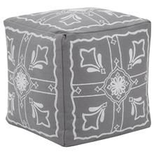 Square Ottoman with Embroidered Pattern