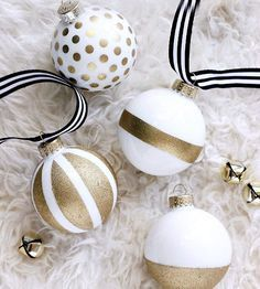 DIY Christmas Ornaments Made With Paint And Ribbon @bhg