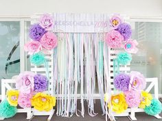 Floral chic photo booth from a Coachella Music & Arts Festival Inspired Birthday Party on Kara's Party Ideas | KarasPartyIdeas.com (12)