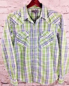 FOSSIL Western Cowboy Pearl Snap Shirt Green Plaid Size Medium Vintage Fit Men's #Fossil #Western #Cowboy #PearlSnap