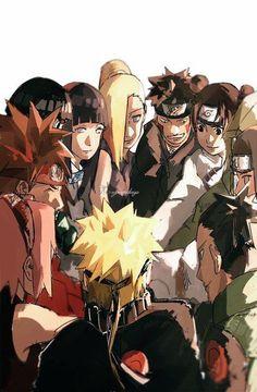 Naruto, Sakura, Ino, Shikamaru, Choji, Hinata, Shino, Kiba, Neji, Ten ten and Lee