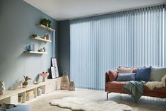 Tonal blues create the perfect environment for relaxation. Here we've combined pale aqua, with denim and teal tones Vertical Blinds Replacement Slats, Fabric Blinds, Curtains, Drapery, Office Blinds, Blinds Direct, Vivid Colors, Colours