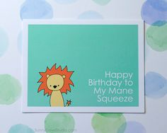 Lion Happy Birthday Card by SunnyDoveStudio #handmade #greetingcard #cute #kawaii #lion #birthday #card #pun