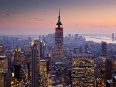 Empire State Building from Rockefeller Center at Dusk Fotoprint van Richard l'Anson bij AllPosters.nl