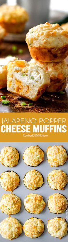I LOVE these Jalapeno Popper Cheese Muffins! they are super moist with an intense cheesy flavor and a cream cheese jalapeno center with the perfect hint of spice. I bring them to all my potlucks and BBQs and are always a huge hit! via @carlsbadcraving