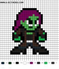 Gamora 8-Bit GotG Vol 2 Perler Bead Pattern