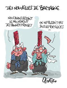 Ras la coiffe! bretonnes, bigoudaines, bonnets rouges, olivero, portiques, coiffe, dessin, illustration, écotaxe