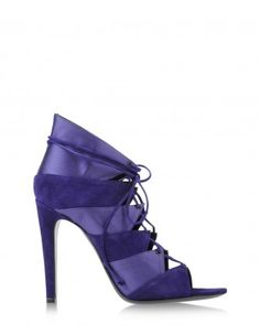 Charline de Luca Purple Satin & Suede Bootie - Shop more chic holiday shoes at ShopBAZAAR.com http://shop.harpersbazaar.com/shoes/