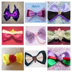 DIY Disney Princess & Villain Inspired Bows: Malificent, Mulan, Ursula, Aurora, Rapunzel, Tiana, Belle, Merida, and Ariel