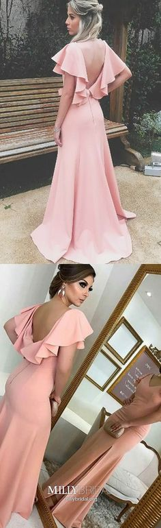 Pink Bridesmaid Dresses With Sleeves, Long Bridesmaid Dress With Slit : Pink Bridesmaid Dresses With Sleeves, Long Bridesmaid Dress With Slit, Satin Bridesmaid Dresses V Neck, Beautiful Bridesmaid Dress Open Back Bridesmaid Dresses With Sleeves, Beautiful Bridesmaid Dresses, Best Prom Dresses, Prom Dresses For Teens, Cheap Prom Dresses, Bridesmaid Ideas, Homecoming Dresses, Party Dresses, Bridesmaids