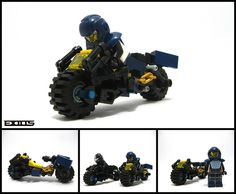 Blaq Style Podbike (Tribute) by Exius Lego Police, Lego Army, Lego Military, Lego Robot, Lego Moc, Nave Lego, Custom Lego Sets, Lego Zombies, Micro Lego