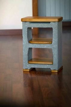 Nightstand made of concrete block and pallet wood - Cinder Blocks Shelf Furniture, Furniture Makeover, Home Furniture, Concrete Wood, Concrete Blocks, Cinder Block Shelves, Cinder Blocks, Cinder Block Furniture, Pinterest Room Decor
