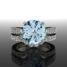 Aquamarine and Diamond Engagement Ring Wedding Set 3.42 CTW