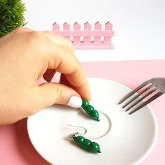Peas In A Pod Earrings / Vegetable Earrings / Miniature Food Earrings/ Peas In A Pod Jewelry/ Gift For Vegan/ Vegan Jewelry/ Kawaii Earrings Stainless Steel Earrings, Miniature Food, Jewelry Gifts, Polymer Clay, Great Gifts, Miniatures, Vegan, Vegetables, Tableware