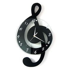 G Clef design adds fun style. x x Wood/glass Ready to hang Requires 1 ''AA'' battery (not included) Wipe clean Model no. Music Clock, Clock Art, Diy Clock, Music Wall, Unique Clocks, Cool Clocks, Tableau Design, Contemporary Wall Decor, Contemporary Houses