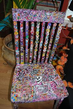 """A great picture of a repurposed chair that an artist painted for the Day of the Dead, """"El Dia del Los Muertos""""."""