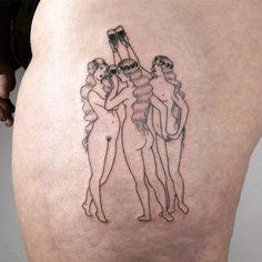 Three of cups hand poked tattoo by Tati Compton