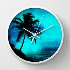 Tropical scene clock tropical wall clock island by NewCreatioNZ