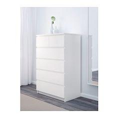 IKEA - MALM, Kommode, 6 skuffer, hvit, , Skuffene som er enkle å åpne og lukke har uttrekksstopp.Hvis du vil organisere innsiden, kan du supplere med SKUBB boks, sett med 6 stk.