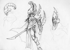 Lovely Sketch showing armor shapes