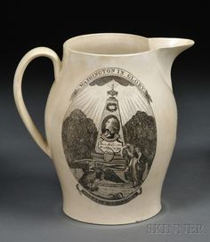 "Transfer-decorated Liverpool Pottery Jug, England, early 19th century, creamware jug, one side depicting ""Washington in Glory/America in Tears,"" the reverse with a ship flying an American flag"