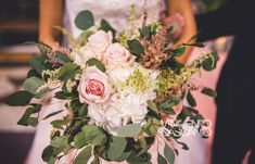White and blush pink organic bouquet Pink Bouquet, Blush Pink, Wedding Bouquets, Wedding Planner, Floral Design, Organic, Colorful, Table Decorations, Bride