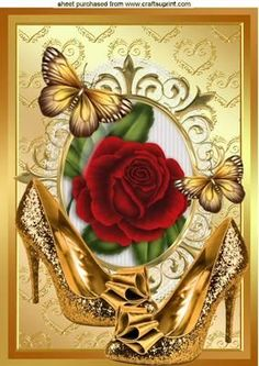 GOLD SPARKLE SHOES WITH RED ROSE A4 on Craftsuprint - Add To Basket!: