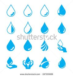 water drop set, blue drop buttons - stock vector