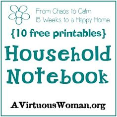 Free Printable Pages for your Household Notebook | A Virtuous Woman