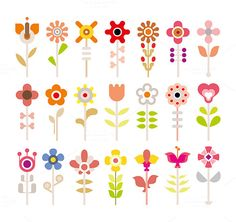 Flower vector icon set by dan on Creative Market